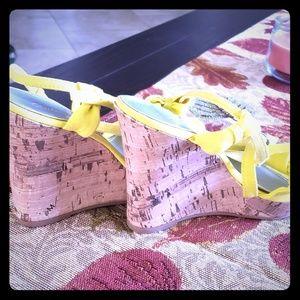 Charlotte Russe yellow wedge heels